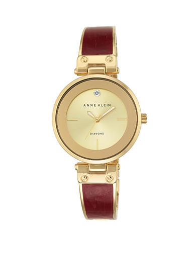Anne Klein Gold-Tone Burgundy Enamel Diam Bangle Watch