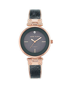 Anne Klein Rose-Gold Tone and Gray Mother of Pearl Dial Bangle Bracelet Watch