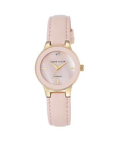 Anne Klein Women's Stainless Steel Light Pink Diamond Dial Watch