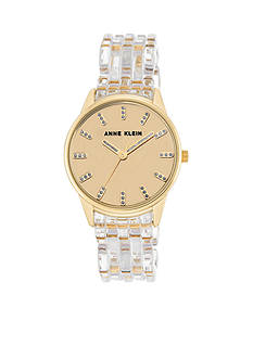 Anne Klein Women's Gold-Tone Clear Bracelet Watch