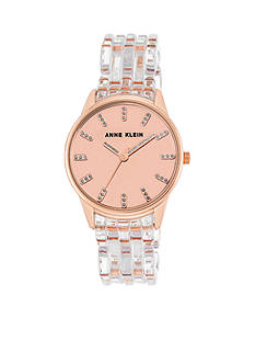 Anne Klein Women's Rose Gold-Tone Clear Band Bracelet Watch