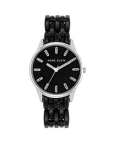 Anne Klein Women's Silver-Tone Black Glitter Bracelet Watch