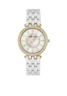 Anne Klein Womens Gold-Tone White Mother-Of-Pearl Dial Crystal Watch