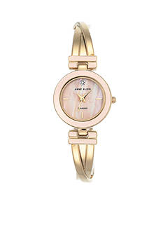 Anne Klein Womens Gold-Tone Blush Diam Dial Tristed Bangle Watch