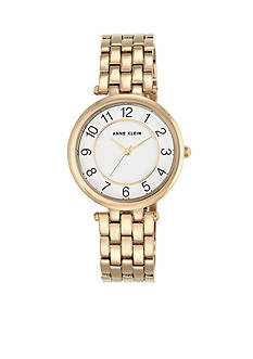 Anne Klein Women's Gold-Tone and Crystal Watch