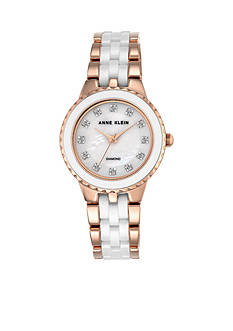 Anne Klein Rose Gold-Tone with White Ceramic Crystals Watch