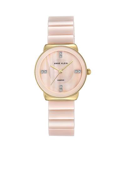 Anne Klein Women's Gold-Tone Light Pink Ceramic Watch