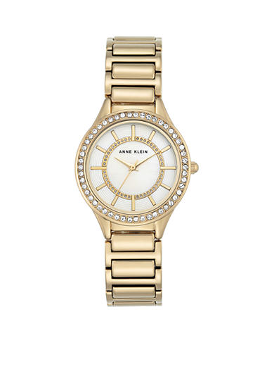 Anne Klein Gold-Tone Round Mother of Pearl Crystal Watch