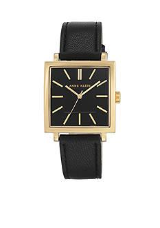 Anne Klein Gold-Tone SQ Tank Black Leather Watch