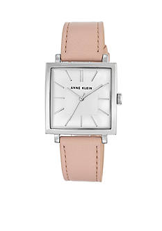 Anne Klein Silver-Tone SQ Tank Pink Leather Watch