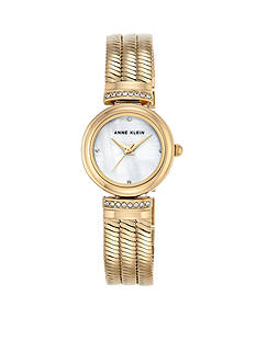Anne Klein Women's Crystal and Gold-Tone Snake Chain Watch