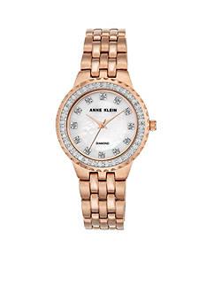 Anne Klein Rose Gold-Tone Diam Dial Link Watch