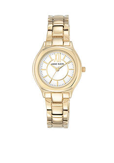 Anne Klein Gold-Tone and White Dial Bracelet Watch