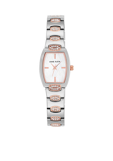 Anne Klein Silver and Rose Gold-Tone Crystal Cush Tank Watch