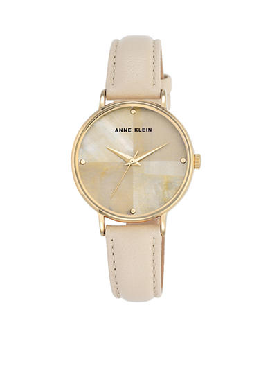 Anne Klein Women's Quad Dial and Ivory Leather Watch