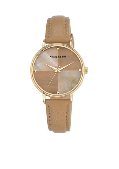 Anne Klein Women's Pearl and Brown Leather Strap Watch