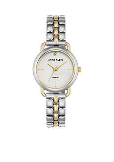 Anne Klein Women's Two-Tone Round Diamond Dial Watch