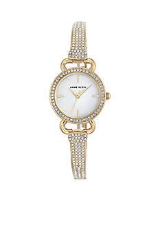 Anne Klein Gold-Tone Round Crystal Bangle Watch