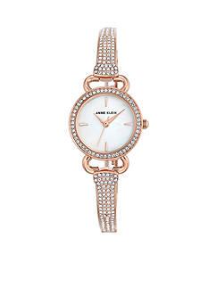 Anne Klein Rose Gold-Tone Round Crystal Bangle Watch