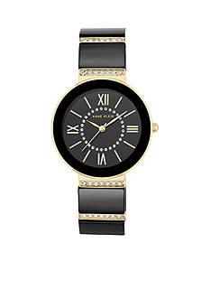 Anne Klein Gold-Tone Black Ceramic Crystal Watch