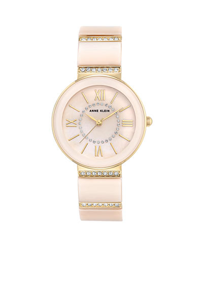 Anne Klein Gold-Tone Blush Ceramic Crystal Watch
