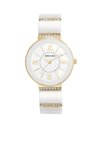 Anne Klein Women's Gold-Tone and White Crystal Link Watch