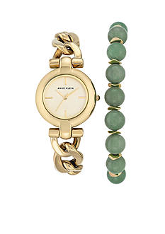 Anne Klein Gold-Tone Jade Stone Bead Box Set