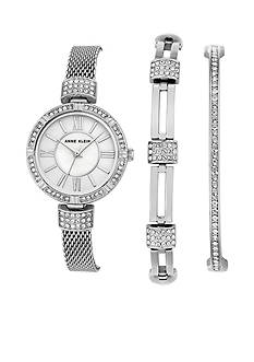 Anne Klein Silver-Tone Crystal Bangle, Bracelet and Watch Box Set