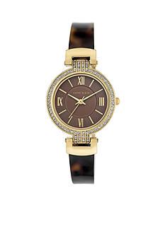 Anne Klein Womens Gold-Tone Tortoise Bangle Crystal Bezel Watch