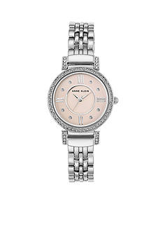 Anne Klein Women's Silver-Tone and Crystal Watch