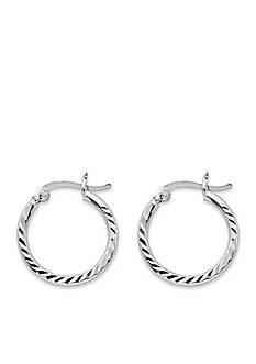 Belk Silverworks Silver-Tone Pure 100 Small Diamond Cut Hoop Earrings