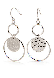 Belk Silverworks Pure 100 Double Hammered Drop Earring
