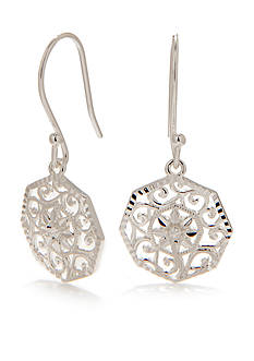 Belk Silverworks E Coated Filigree Round Drop Earring
