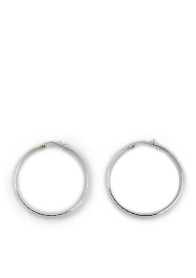 Belk Silverworks Large Hoop with Diamond Cut in Pure 100 Earrings