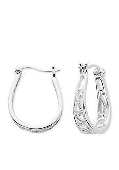 Belk Silverworks Silver-Tone Pure 100 Filigree U Hoop Earring