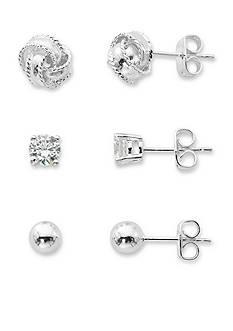 Belk Silverworks Silver-Tone Pure 100 Cubic Zirconia Love Knot Earring Set