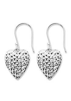 Belk Silverworks Silver-Tone Pure 100 Diamond Cut Heart Drop Earring