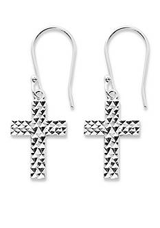 Belk Silverworks Silver-Tone Pure 100 Diamond Cut Cross Drop Earring