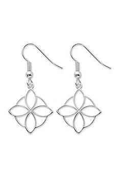 Belk Silverworks Silver-Tone Pure 100 Open Flower Drop Earrings