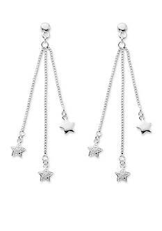 Belk Silverworks Silver-Tone Pure 100 Triple Chain Star Drop Earrings