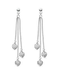 Belk Silverworks Silver-Tone Pure 100 Triple Chain Heart Drop Earrings