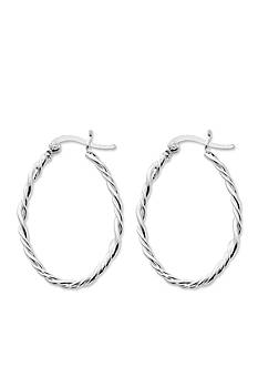 Belk Silverworks Silver-Tone Pure 100 Twisted Oval Hoop Earrings