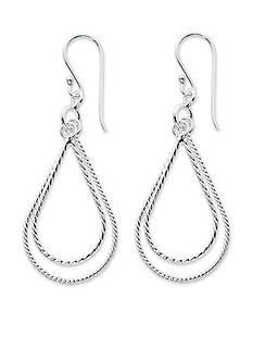 Belk Silverworks Silver-Tone Pure 100 Twisted Double Teardrop Drop Earrings