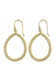 Belk Silverworks 24kt Gold Over Pure 100 Braided Open Teardrop Drop Earring