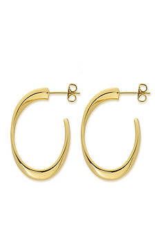 Belk Silverworks 24kt Gold Over Pure 100 Oval Posted Hoop Earring