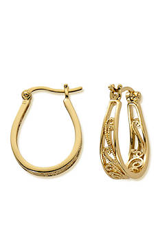 Belk Silverworks 24kt Gold Over Pure 100 Filigree U Hoop Earring