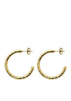 Belk Silverworks Gold-Tone Pure 100 Hammered Posted Hoop Earrings