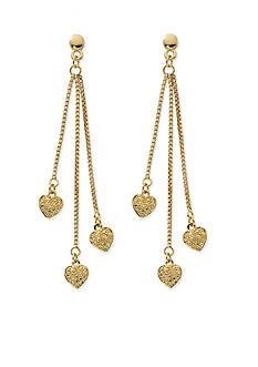 Belk Silverworks Gold-Tone Pure 100 Triple Chain Heart Drop Earrings