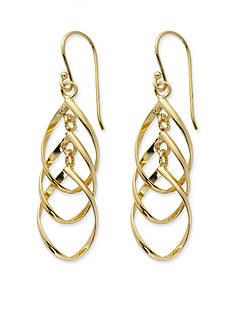 Belk Silverworks Two-Tone Pure 100 Twisted Open Teardrop Drop Earrings