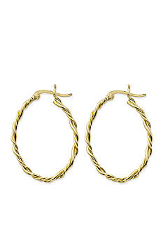 Belk Silverworks 24kt Gold Over Pure 100 Twisted Oval Hoop Earrings